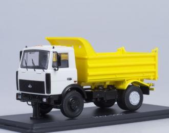 МАЗ 5551 самосвал поздний, белый / жёлтый
