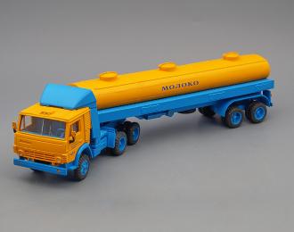 (Конверсия!) Камский грузовик 5410 с полуприцепом Молоко, желтый / голубой
