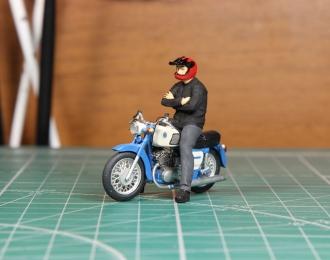 Мотоциклист Толя (для Иж Планета-3) красный шлем