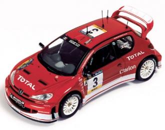PEUGEOT 206 WRC #3 Red G.Panizzi-H.Panizzi Winner Catalunya Rally (2003), red