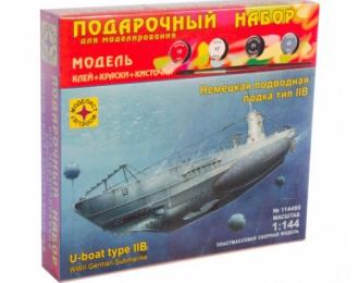 Сборная модель немецкая подводная лодка тип IIB (подарочный набор)