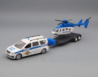 LADA Largus с вертолетом, полиция, белый