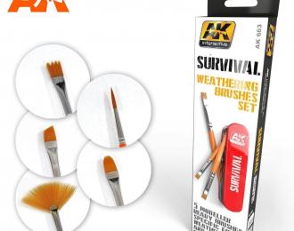 SURVIVAL WEATHERING BRUSHES SET/Набор кистей для нанесения эффектов5 шт в наборе