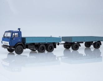 Камский грузовик 5320 с прицепом ГКБ-8650, синий / голубой