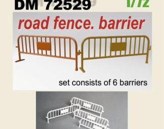 Дорожное ограждение, барьер. Набор 6 шт. Смола. печать 3D