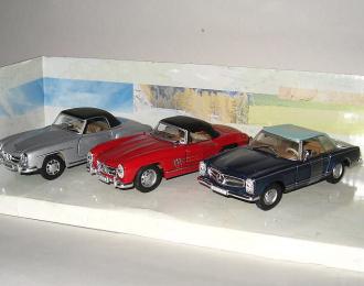 Набор из 3 моделей MERCEDES-BENZ, silver / red / blue