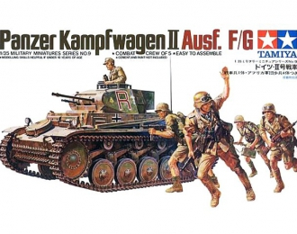 Сборная модель танк PANZERKAMPFWAGEN II Ausf F/G с 20 мм пушкой KWK38 7,92 мм пул-ом MG34 и 5 фигурами