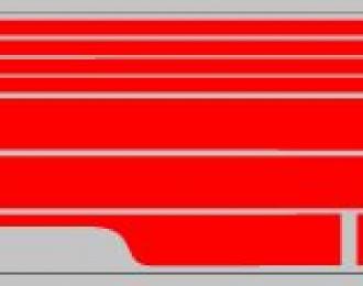 Набор декалей полосы на низ для Трамвая КТМ-5М3 красный (100х360)