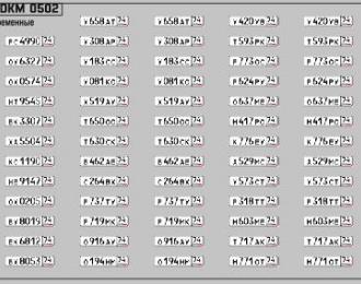 Набор декалей Номерные знаки России Челябинская область (100х70)