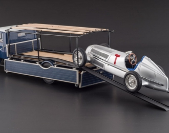 MERCEDES-BENZ Racing Car Transporter LO 2750 1934 + MERCEDES-BENZ W25 T-Car 1934 Silver (CMC Bundle) Limited Edition 1000 pcs.