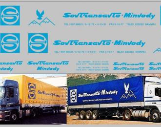 Набор декалей Sovtransavto-minvody для МАЗ-5205 (100х290), голубой