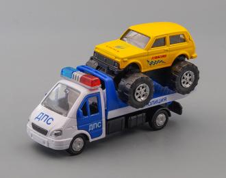 Горький 3302 Эвакуатор Полиция ДПС, синий / белый / желтый