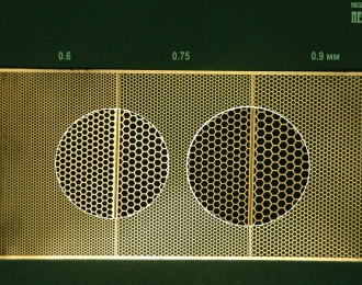 Фототравление Сетки с ячейкой-шестиугольником, 0.6, 0.75, 0.9 мм (латунь 0.1 мм)