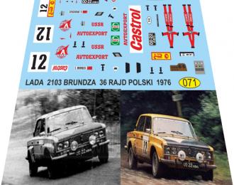 Набор декалей Волжский автомобиль 2103 Брундза 36-й польский рейд 1976