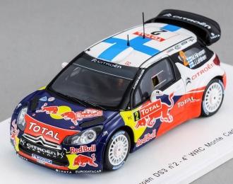 CITROEN DS3 WRC №2 4th Rally Monte-Carlo (Mikko Hirvonen - Jere Lehtinen) 2012, red
