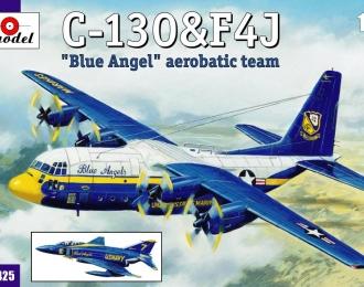 """Сборная модель Американский военно-транспортный самолет C-130 """"Hercules"""" и McDonnell Douglas F-4J Phantom II (пилотажная группа 'Blue Angel' )"""