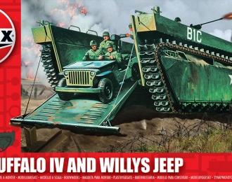Сборная модель Десантная амфибия LVT-4 Water Buffalo и внедорожник Willys 4х4