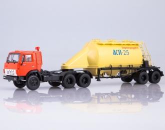 Камский грузовик 54112 с полуприцепом-муковозом АСП-25, красный / желтый