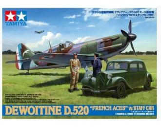"""Сборная модель DEWOITINE D.520 """"FRENCH ACES"""" с двумя фигурами и штабным автомобилем"""
