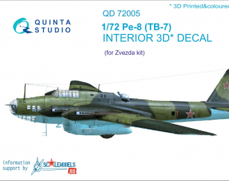 3D Декаль интерьера кабины Пе-8/ТБ-7 (для моделей Звезда 7264, 7291)