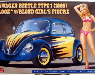 Сборная модель Автомобиль Volkswagen Beetle (1966) Cal Look w/Blond Girls Figure