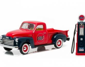 """GMC 150 пикап """"Gulf Oil"""" with Vintage Gulf Gas Pump 1950 Red"""