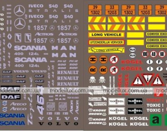 Набор декалей Шильдики и эмблемы для импортных грузовиков, 190х80