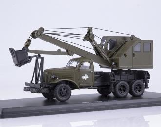 Автомобильный экскаватор-кран ДКА-0,25/5 на шасси ZIS-151, хаки
