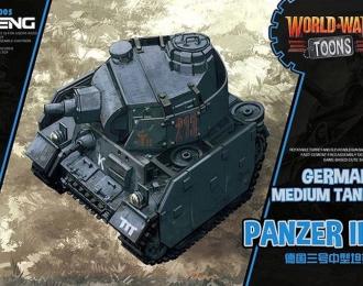 Сборная модель Немецкий средний танк panzer III (карикатура, сборка без клея, для детей)
