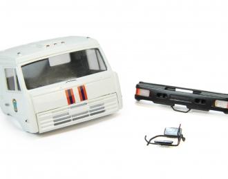 Спальная кабина для КАМАЗ вариант МЧС (Евро-2, пластиковый бампер), белый