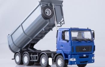 МАЗ-6516 самосвал U-образный кузов, синий / серый