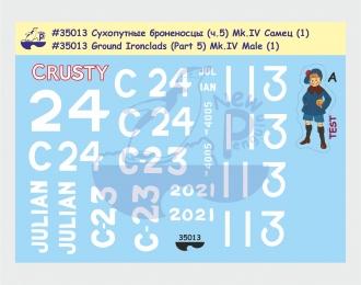 Декаль Сухопутные броненосцы (ч.5). Mk.IV Самец (1) -Британия, Первая Мировая война 3-е сражение за Ипр (Пашендейл), Камбре, 1917 г., демо-танк Военного займа