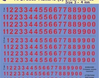 Декаль Цифры красные (трафарет), высота  3-4 мм