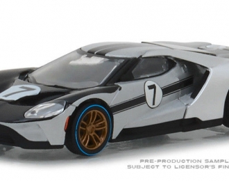FORD GT 2017 #7 Tribute Ford GT40 MkII 1966 Silver and Black