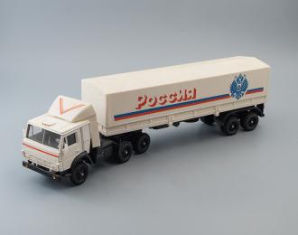 Камский грузовик 5410 с полуприцепом и тентом Россия, белый