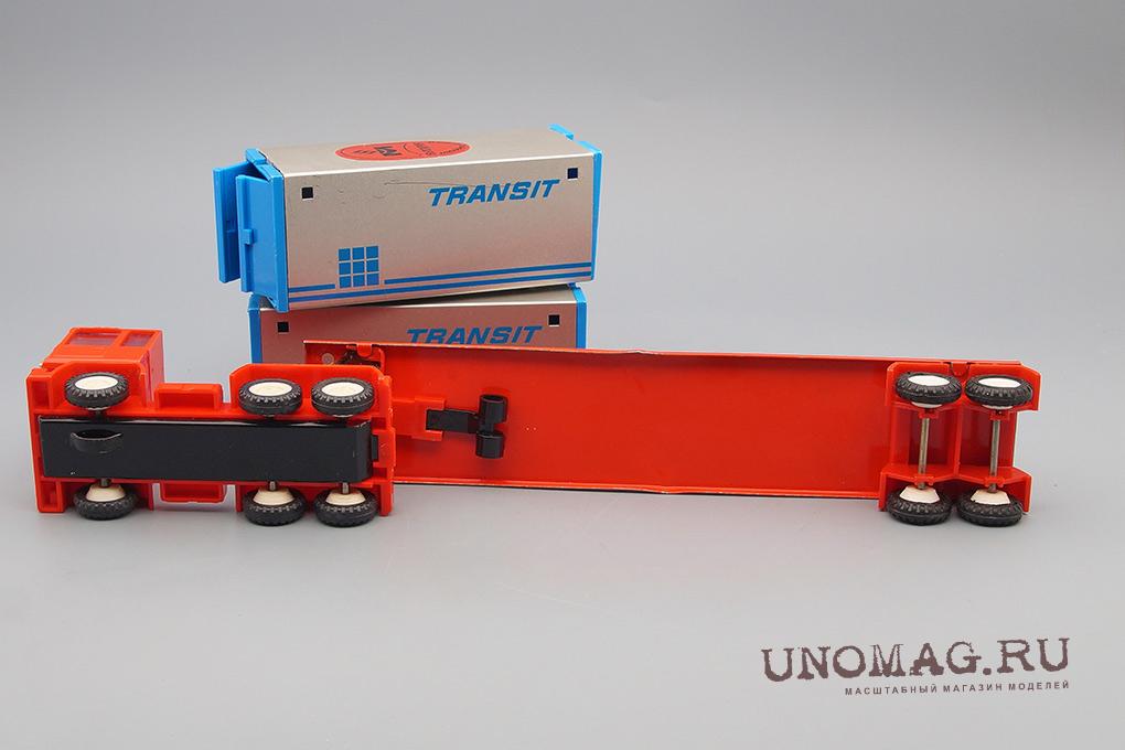 Игрушка Грузовик с прицепом контейнеровозом, красный / голубой