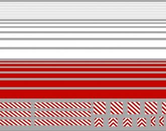 Набор декалей Красные и белые полосы для спецтехники, обозначения габаритов, 198 х115 мм