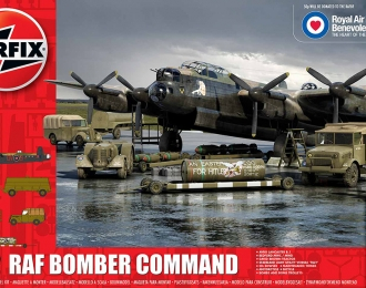 Сборная модель Британский тяжелый бомбардировщик Avro Lancaster BI RAFBF и аэродромная техника (Подарочный набор)