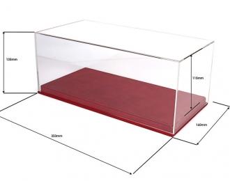 Прозрачный бокс для модели в масштабе 1:18, подставка из красной кожи (323*160*135mm)