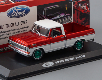 (Greenlight!) FORD F-100 пикап 1970 Candy Apple Red and White