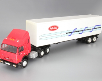 Камский грузовик 54115 Седельный тягач с прицепом, красный / белый