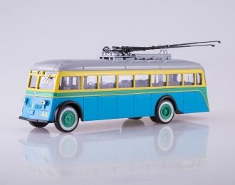Троллейбус ЯТБ-1, голубой / желтый