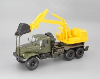 КрАЗ-255Б ЭО-4421 Экскаватор, хаки / желтый