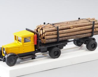 ЗИС-5 Лесовоз с прицепом и лесом, желтый, черный