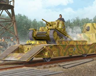 Сборная модель Немецкая ЖД платформа с танком Pz.Kpfw.38(t)