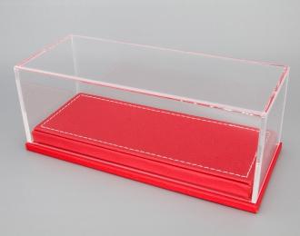 Прозрачный бокс подставка из красной кожи (173*70*68mm)