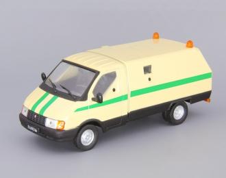 Горький 3302 Ратник инкассация, Автомобиль на службе 14, грязно-желтый