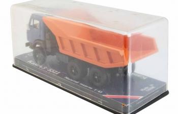 КАМАЗ 5511 самосвал (вертикальные ребра), синий / оранжевым