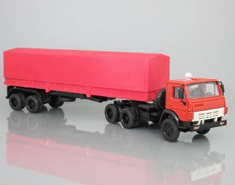 Камский грузовик 5410 (дневная кабина) с полуприцепом и тентом, красный