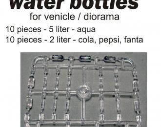 Набор ПЭТ-бутылок для диорам. 20 шт + декаль Пепси, Кола, Фанта. Бутылки 10 шт. - 5 л. 10 шт. - 2 л. Прозрачный пластик